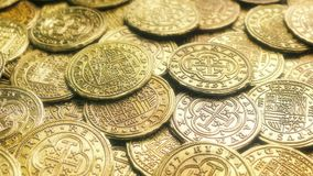 Shiny Gold Treasure Coins. Passing pile of shiny gold coins stock video