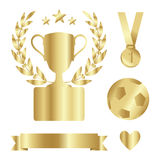 Shiny gold trophy cup, medal, laurel, award set, isolated s Royalty Free Stock Photography