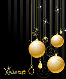 Shiny gold Xmas balls Royalty Free Stock Photography