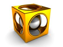 Shiny golden abstract cube and silver sphere. Inside 3d Stock Image