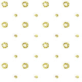 Shiny golden abstract texture. Tile dottetd backdrop. Warping paper with golden circles and dots on white. Gold glitter sparkling pattern. Decorative seamless vector illustration