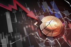 Shiny golden ARAGON cryptocurrency coin broken on negative chart crash baisse falling lost deficit 3d rendering Royalty Free Stock Photos