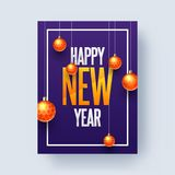 Shiny golden baubles hang on blue background for Happy New Year. Celebration concept vector illustration