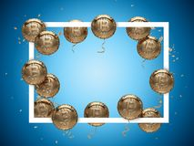 Shiny golden Bitcoin shaped Balloons around Square Frame with copy space inside. Put new price record here. 3D illustration Royalty Free Stock Images