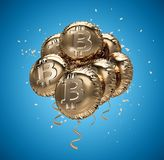 Shiny golden Bitcoin shaped Balloons with confetti. Bitcoin celebrating growth. 3D rendering Stock Photos