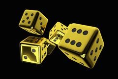 Shiny Golden Casino Dices. 3D Rendered Illustration of Shiny Golden Casino Dices Isolated on Solid Black Background Royalty Free Stock Image