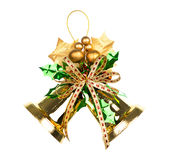 Shiny golden Christmas bells decorated. Stock Photos