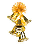 Shiny golden Christmas bells decorated. Stock Images