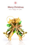 Shiny golden Christmas bells decorated Stock Photo