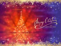 Shiny golden Christmas tree on blue red background Stock Photo