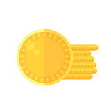 Shiny golden coins icon in flat style design. Irish St. Patrick Royalty Free Stock Photo