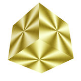 Golden cube. Shiny golden cube isolated in white Stock Photo