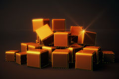 Shiny golden cubes Stock Photo