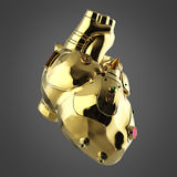 Shiny golden cyborg techno heart with shiny details and colored glass indicators Royalty Free Stock Photos
