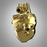 Shiny golden cyborg techno heart with shiny details and colored glass indicators Royalty Free Stock Photo