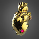 Shiny golden cyborg techno heart with shiny golden details and colored glass indicators, Stock Image