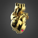 Shiny golden cyborg techno heart with shiny golden details and colored glass indicators, Stock Photo