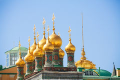 Shiny golden domes of the Upper savior Cathedral Royalty Free Stock Images