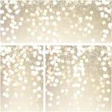 Gold shiny bokeh backgrounds. Shiny golden festive bokeh backgrounds set. Christmas decoration. Vector illustration Royalty Free Stock Photography