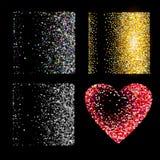 Shiny golden glitter on black  background Royalty Free Stock Photo
