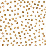 Shiny golden glitter polka dots on white background. Golden glitter polka dots on white background. Abstract shiny seamless pattern with gold metallic confetti Royalty Free Stock Image
