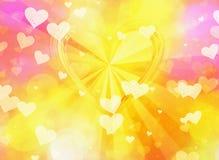 Shiny golden hearts on sunshine backgrounds. Shiny golden hearts on sunshine background vector illustration