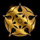 Shiny golden heraldic flower. Abstract floral element Royalty Free Stock Photography