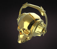 Shiny golden human skull with  studio earphones on, render side view. Halloween party poster template. Isolated  dark Royalty Free Stock Image