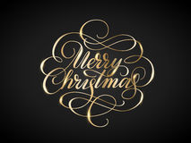 Shiny golden Merry christmas lettering with swirls Stock Photos