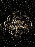 Shiny golden Merry christmas lettering with swirls Royalty Free Stock Image