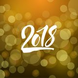 Shiny golden new year card with hand drawn lettering 2018 Stock Photo