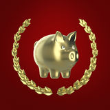 Shiny golden piggy bank surrounded by a laurel wreath  on red background, 3d rendering Royalty Free Stock Photography