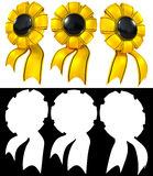Shiny golden prize emblem design set. Royalty Free Stock Photo