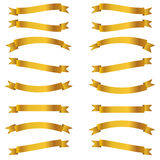 Shiny golden ribbons Stock Images