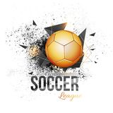 Golden soccer ball on abstract grungy background. Shiny golden soccer ball on abstract grungy background Royalty Free Stock Images