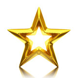 Shiny golden star. 3d rendering Stock Image