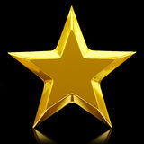 Shiny golden star. 3d rendering Stock Photos