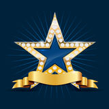 Shiny golden star with diamonds and ribbon Royalty Free Stock Image