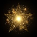 Shiny golden star with sparkles. Vector eps 10 shiny golden star with glowing bokeh lights sparkling glittering effect royalty free illustration