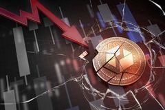 Shiny golden UBIQ cryptocurrency coin broken on negative chart crash baisse falling lost deficit 3d rendering. Markets Royalty Free Stock Images