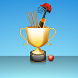 Shiny golden winning trophy for cricket sports. Stock Photo
