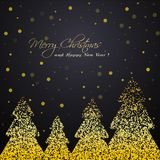 Shiny golden winter trees greeting card Stock Images