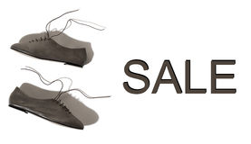 Shiny gray lady shoes with laces Royalty Free Stock Photo