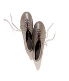 Shiny gray lady shoes with laces Royalty Free Stock Images