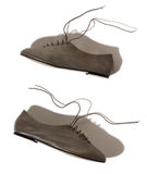Shiny gray lady shoes with laces Stock Photography