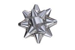 Shiny gray paper ribbon gift bow Stock Photo