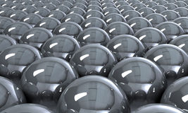 Shiny gray spheres. 3d illustration of gray spheres receding into distance Stock Photography