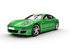 Shiny Green Fast Car. Isolated on white background Royalty Free Stock Images