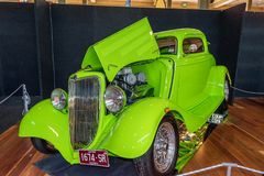 Shiny green Ford hot rod car. At Victorian Hot Rod & Cool Rides Show in Melbourne, Australia Stock Photos