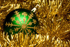 Shiny Green and Gold Ornament Stock Photo